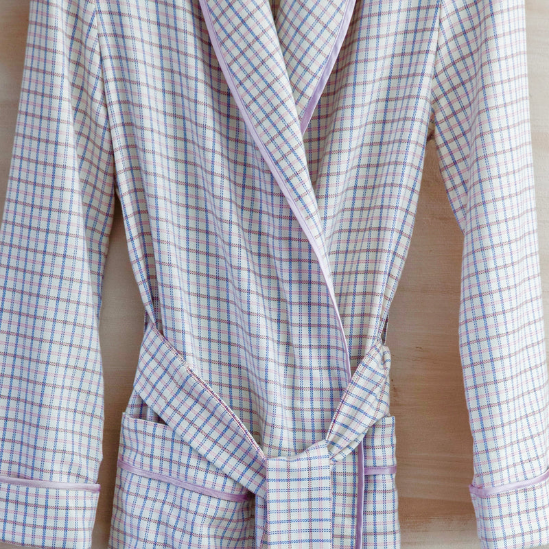 Brushed Cotton Robe (White Check with Blue/Pink)
