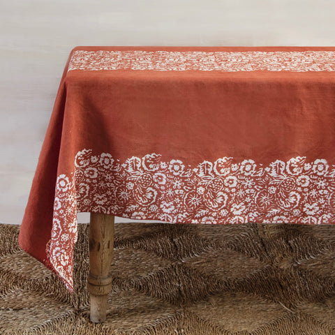 Fleure Sauvage Linen Table Cloth (Rust & White)