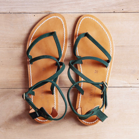 Epicure Sandal, Hunter Green Suede