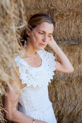 Hazel Eyelet Smocked Dress