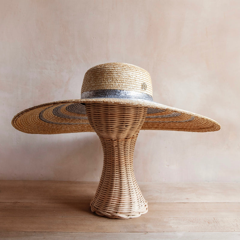 Bianca Straw Hat (Natural with Silver Stripes)