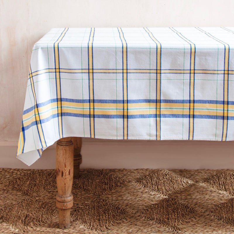 Vintage Checked Cotton Table Cloth