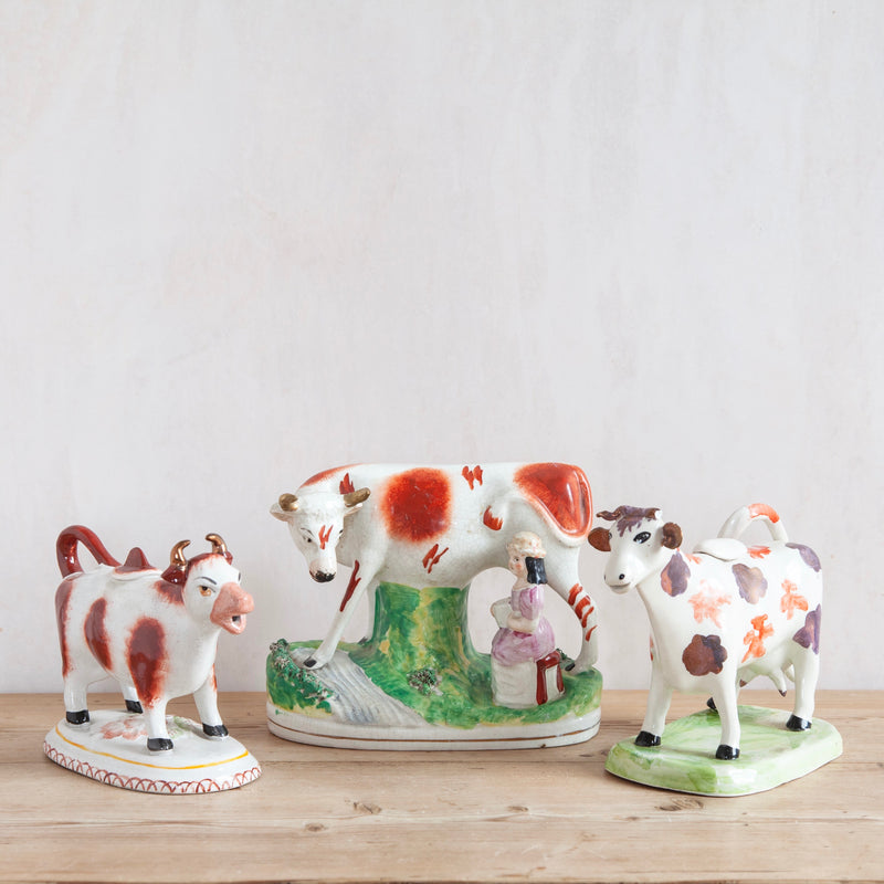 19th Century Victorian Staffordshire Cow Creamers