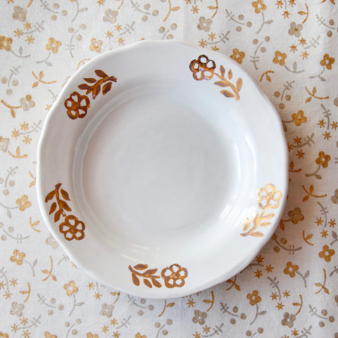 Pair of Ceramic Soup Plates Hand-Painted with Gold Leaf