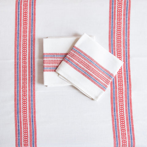 Vintage Basque Linen Tablecloth and Napkin Set