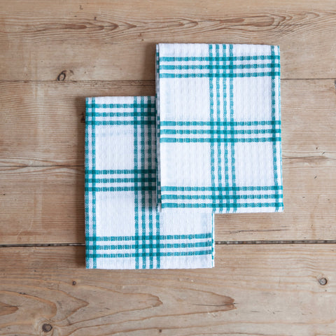 Pair of Vintage Checked Cotton Tea Towels