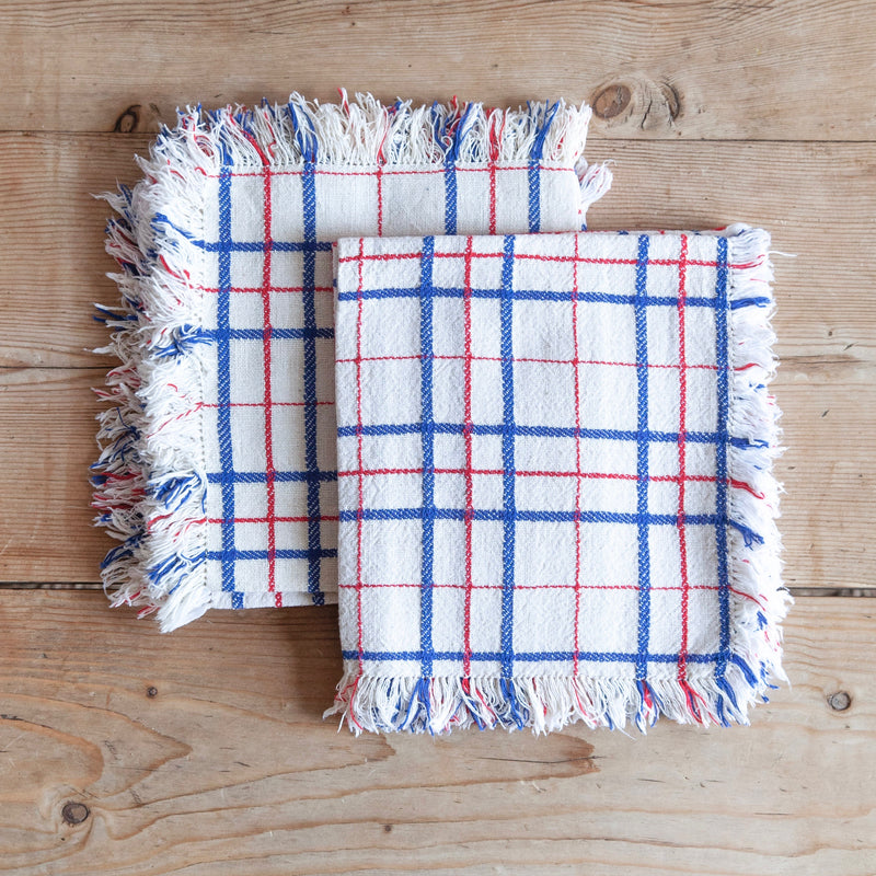 Vintage Checked Cotton Napkins, set of 6