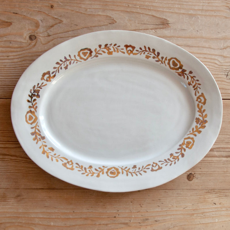 Ceramic Serving Platter Hand-Painted with Gold Leaf, Medium