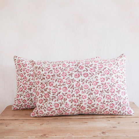 Pair of 19th Century French Block-Printed Quilted Cushion