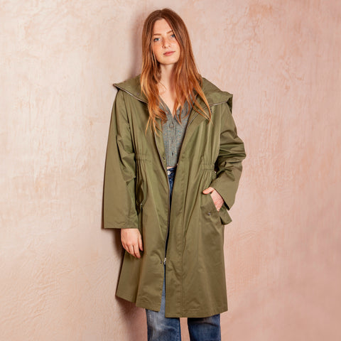 Elodie Long Sleeve Eyelet Windbreaker, Army Green