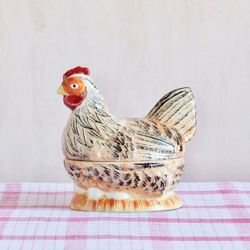 Vintage Hand-Painted Ceramic Chicken Tureen