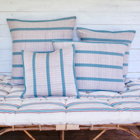 Cotton Cushion Cover (aqua/pale pink tartan)