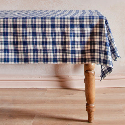 Harbour Plaid Woven Tablecloth, Blue