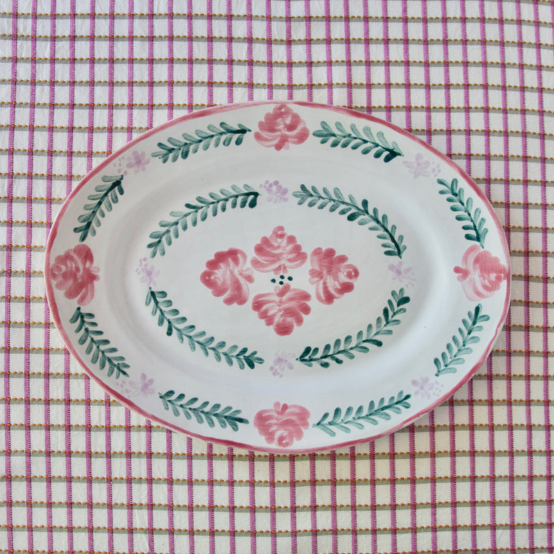 Hand-Painted Ceramic Oval Platter