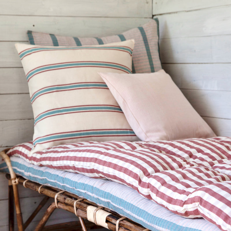 Cotton Cushion Cover (aqua/plum stripe)