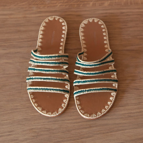 Asmaa Five Strap Slides (Natural & Hunter)