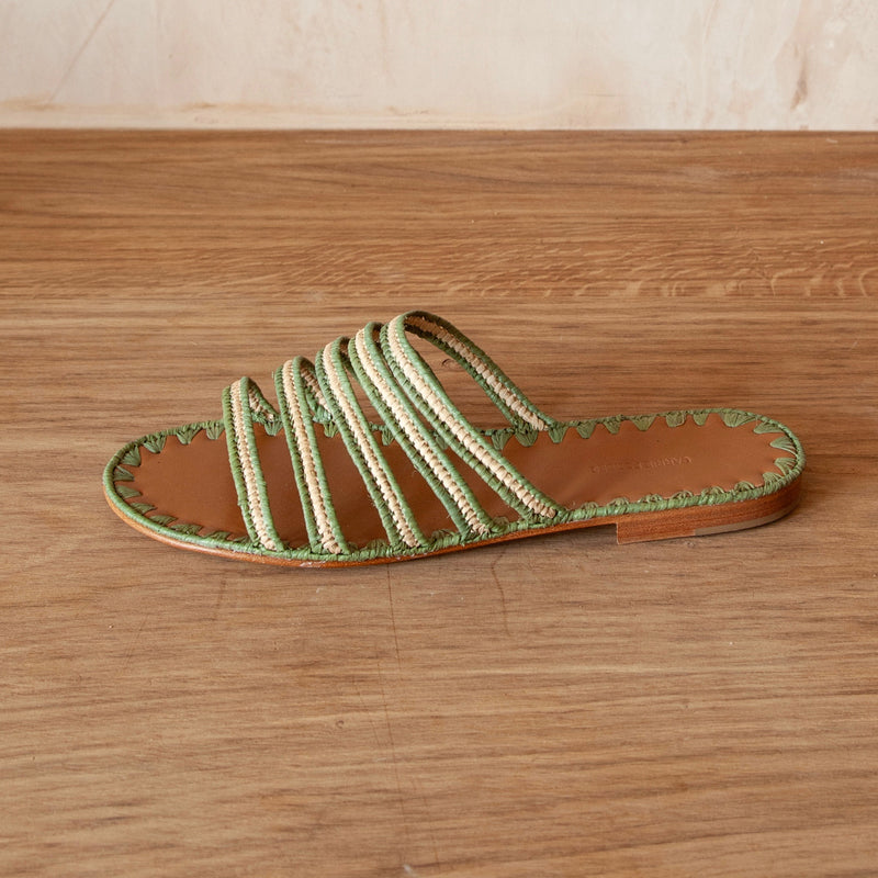 Asmaa Five Strap Slides (Olive & Natural)