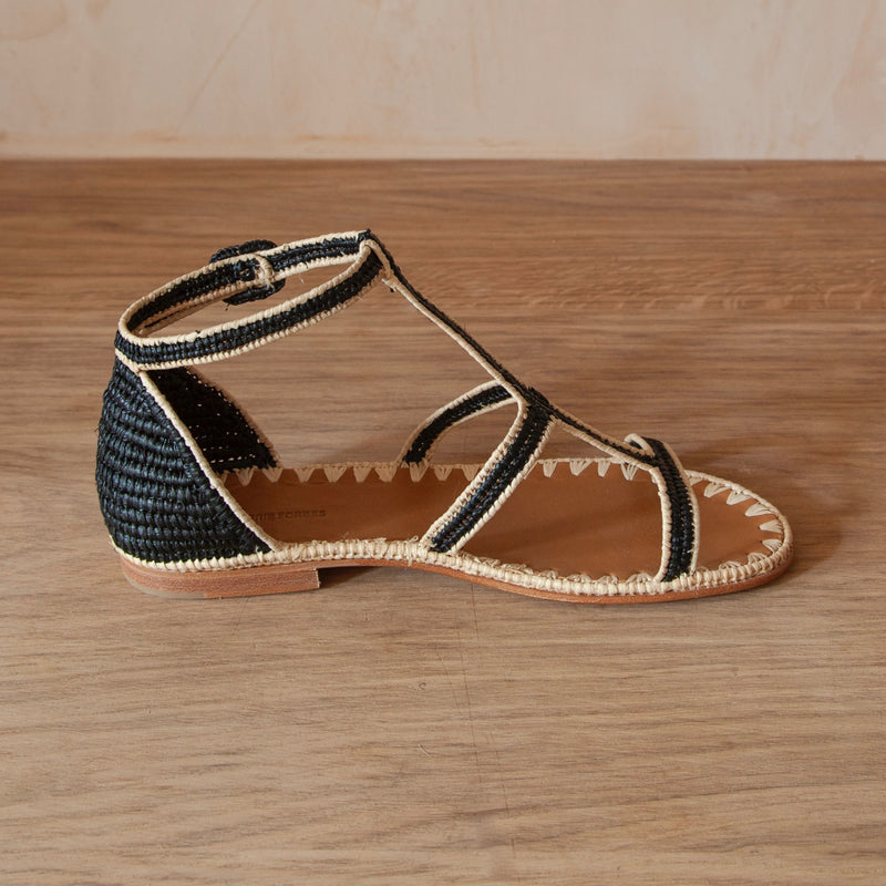 Tama T-Strap Sandal (Black & Natural)