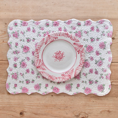 Embroidered Cotton Placemat with Pink Roses