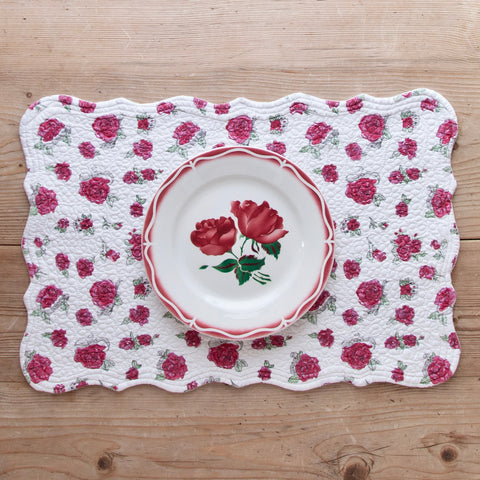 Embroidered Cotton Placemat with Red Roses