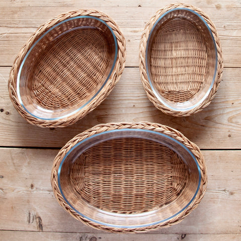 Braided Rattan Casserole Dish, Natural (Oval)
