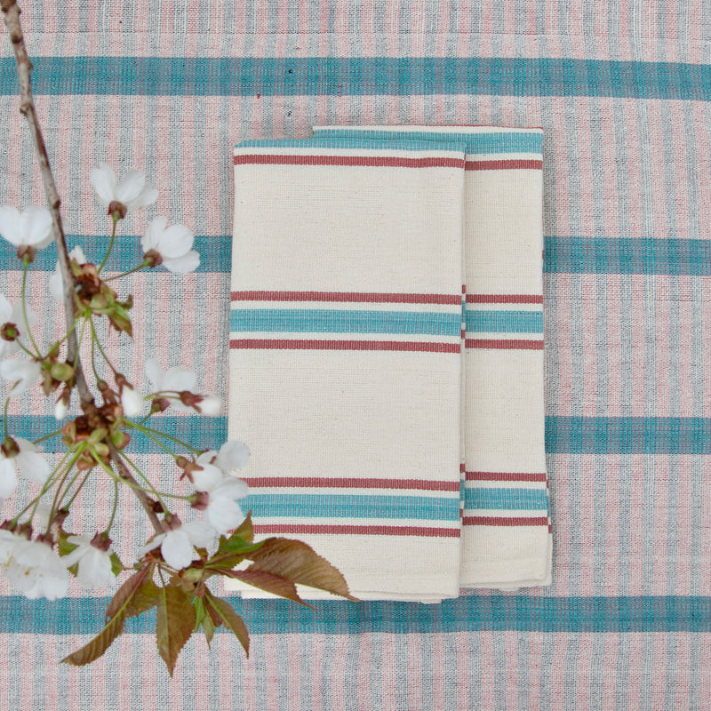 Cotton Napkin (aqua/raisin stripe)