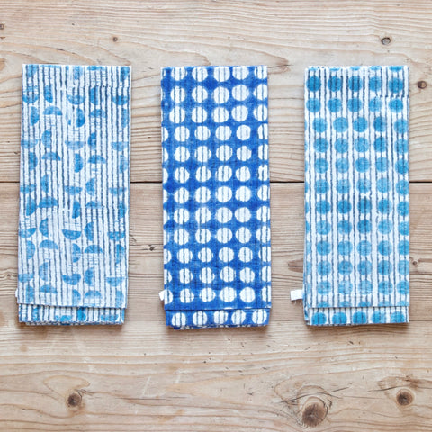 Block Print Napkins, Aqua Stripe Spot, Set of 6