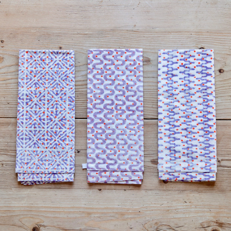 Block Print Napkins, Lavender Blossom Spot, Set of 6