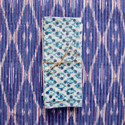 Cobalt Diamond Stripe Tablecloth