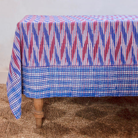 Sky Rouge Stripe Tablecloth