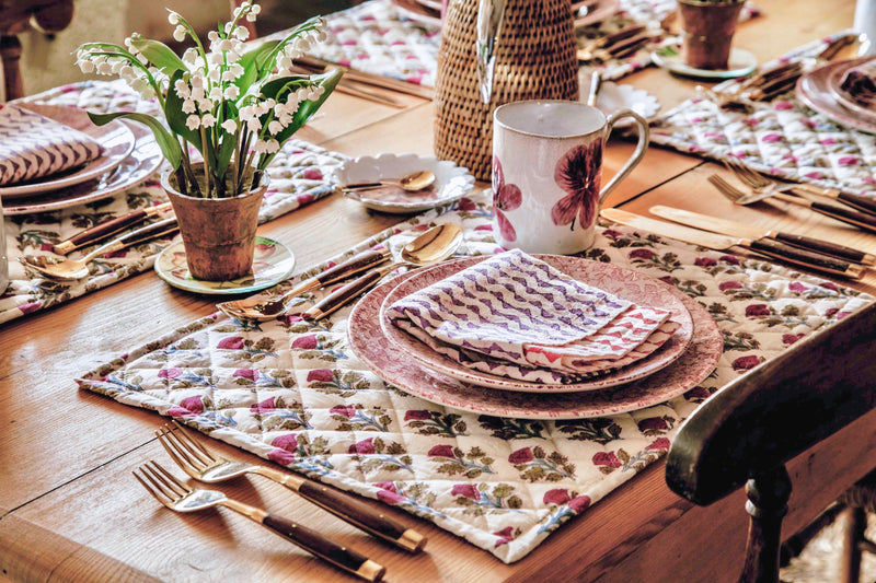 Handblock Quilted Placemats, Pair