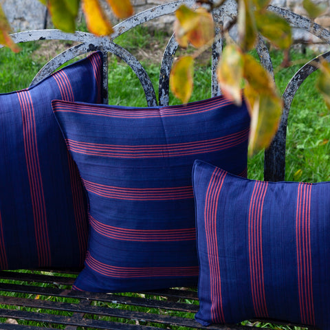 Cotton Cushion Cover (navy/red)