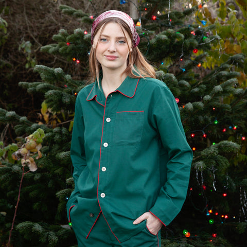 Piped Pyjamas (Green with Red Piping)