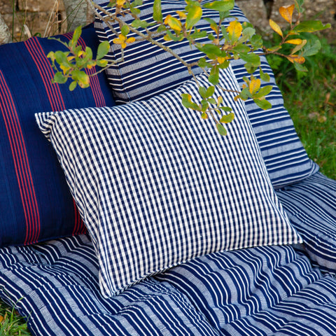 Cotton Cushion Cover (navy/white)
