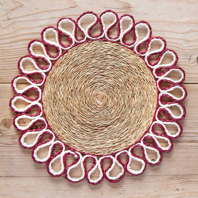 Looped Sisal Placemats, Red/White
