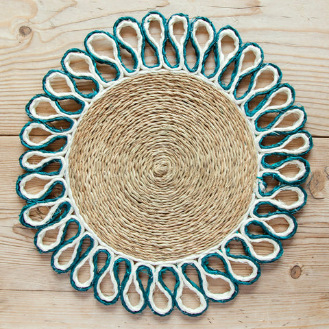 Looped Sisal Placemats, Emerald Green/White