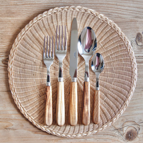 Classic Olive Wood Cutlery, 5 Piece Set