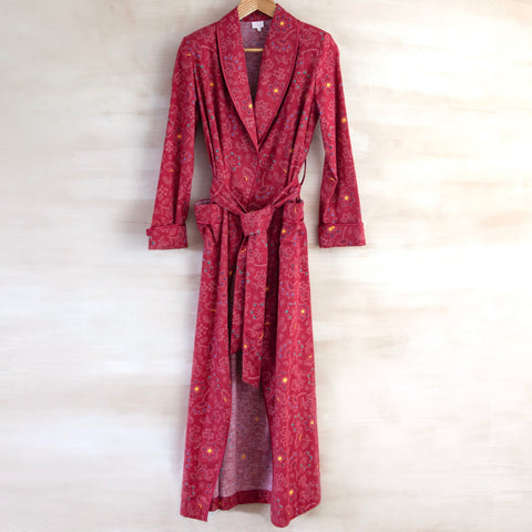 Brushed Cotton Robe (Red Floral)