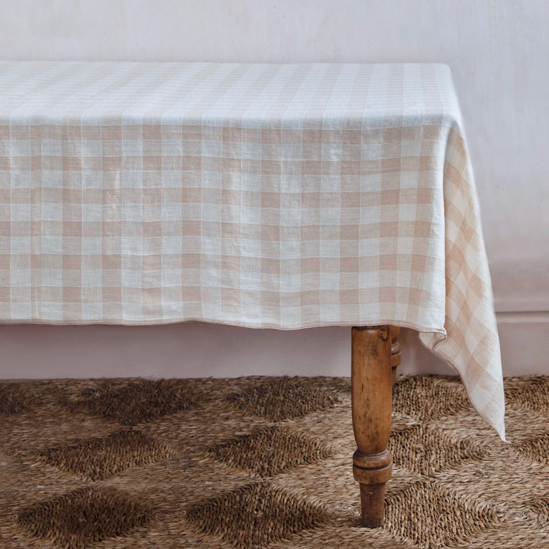 Vintage Checkerboard Tablecloth, Crème