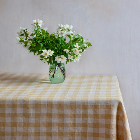 Vintage Checkerboard Tablecloth, Paille