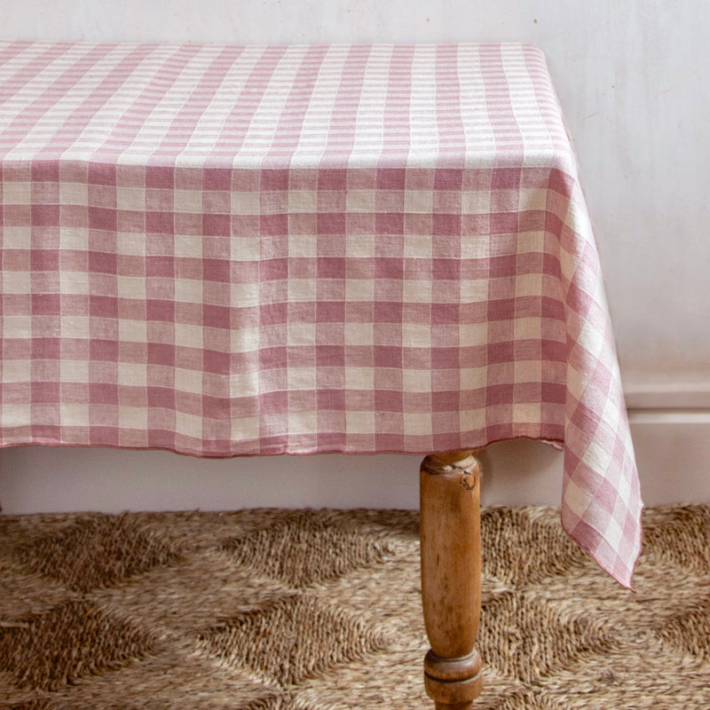 Vintage Checkerboard Tablecloth, Bois de Rose