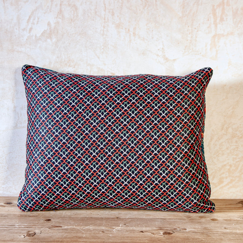 French 1820-30s block printed indigo and red quilted cotton