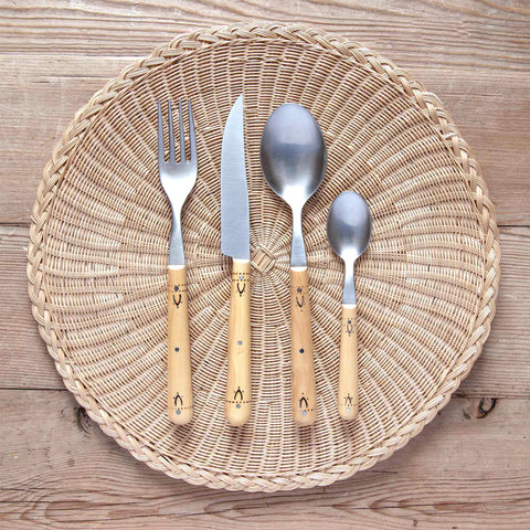 4-Piece Burned-Boxwood Cutlery Set