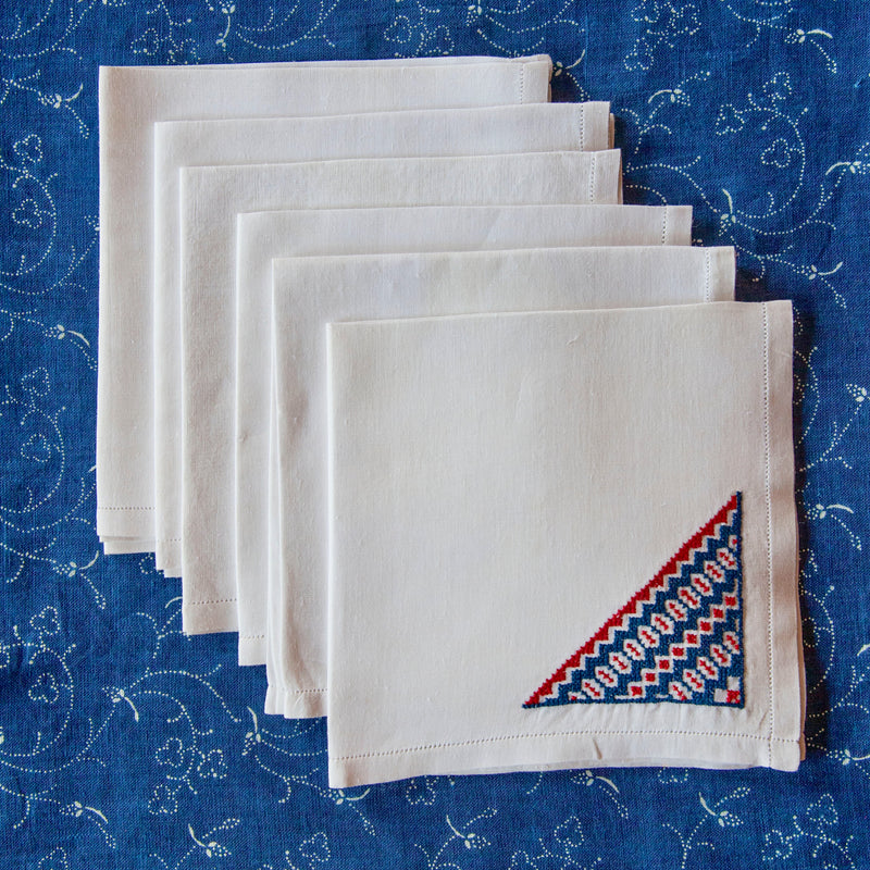 Set of Six, Vintage Embroidered Linen Cocktail Napkins