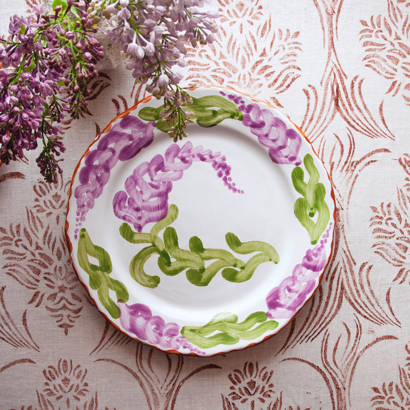 "Pair of Hand-Painted Ceramic ""Lilac"" Dinner Plates"