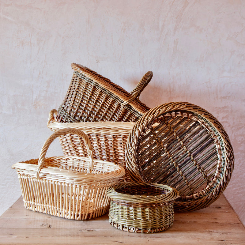 Hand Woven English Willow Arm Basket
