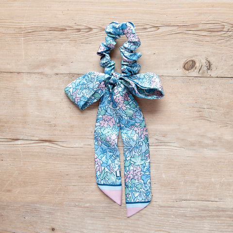 Silk Floral Bow Scrunchie