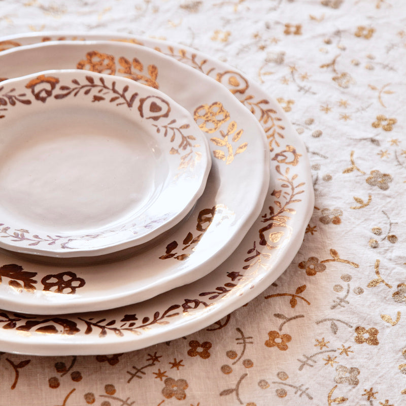 Pair of Ceramic Salad/Dessert Plates Hand-painted with Gold Leaf