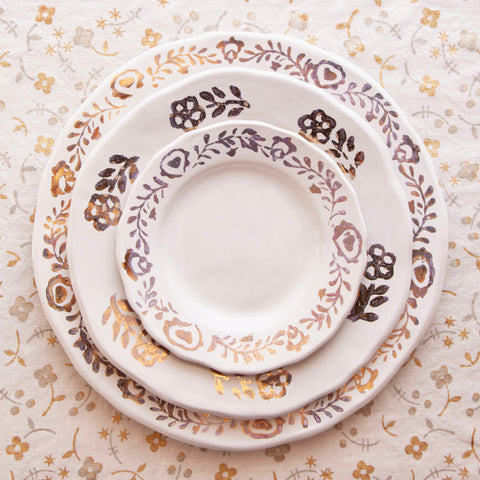 Pair of Ceramic Dinner Plates Hand-Painted with Gold Leaf