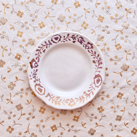 Pair of Ceramic Side Plates Hand-Painted with Gold Leaf